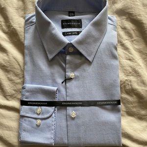 Men's Stonehouse 17.5T 34/35 Blue Dress Shirt NWT